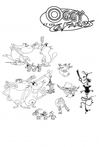 coloriage-oggy-et-les-cafards-2 free to print