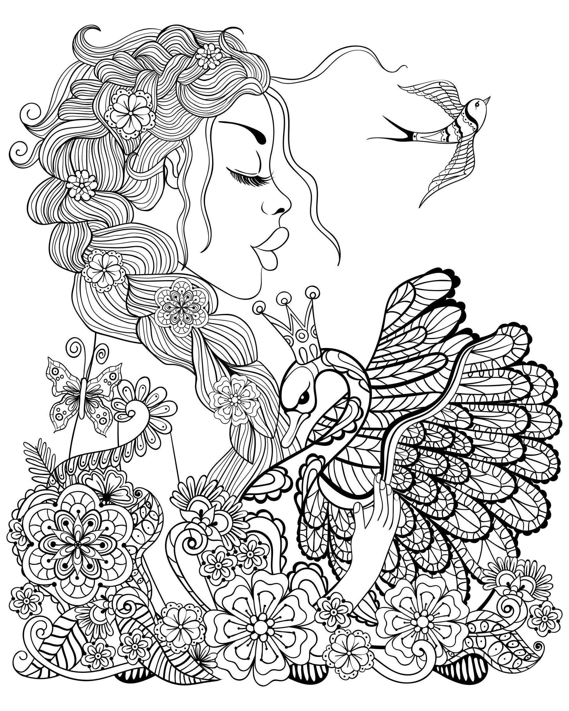 femme cygne et oiseau coloriage d 39 oiseaux coloriages pour enfants. Black Bedroom Furniture Sets. Home Design Ideas