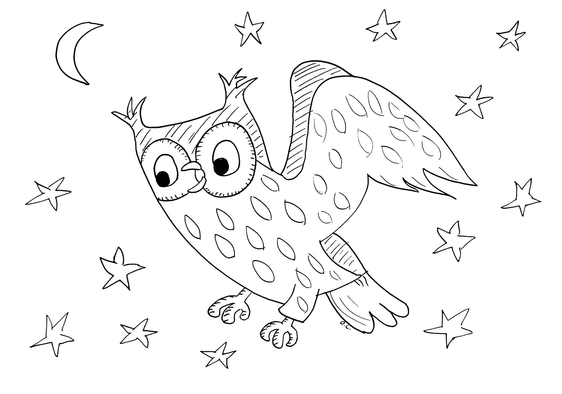 Hibou coloriage d 39 oiseaux coloriages pour enfants - Enfants coloriage ...