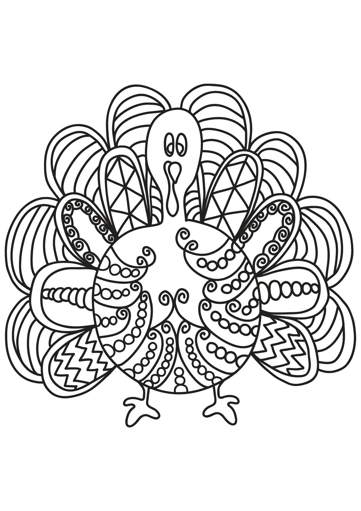 Jolie dinde coloriage d 39 oiseaux coloriages pour enfants - Coloriage jolie ...
