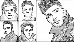 Coloriage one direction portraits