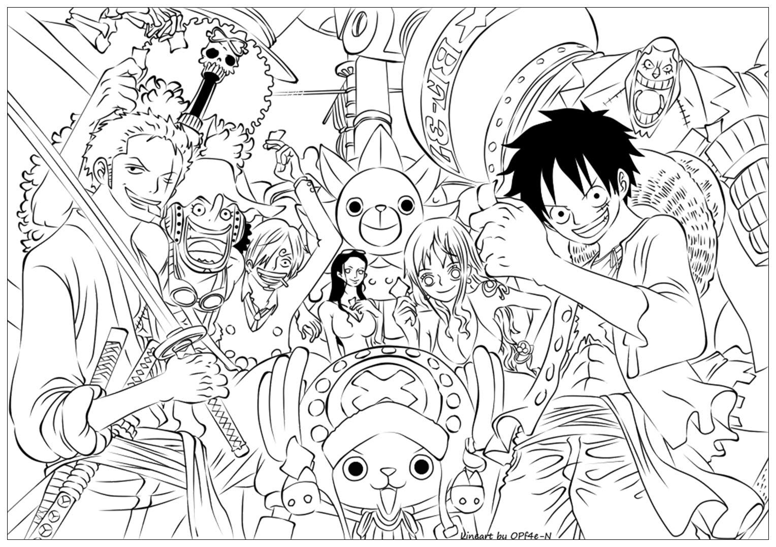 Dessin de One piece à colorier, facile pour enfants