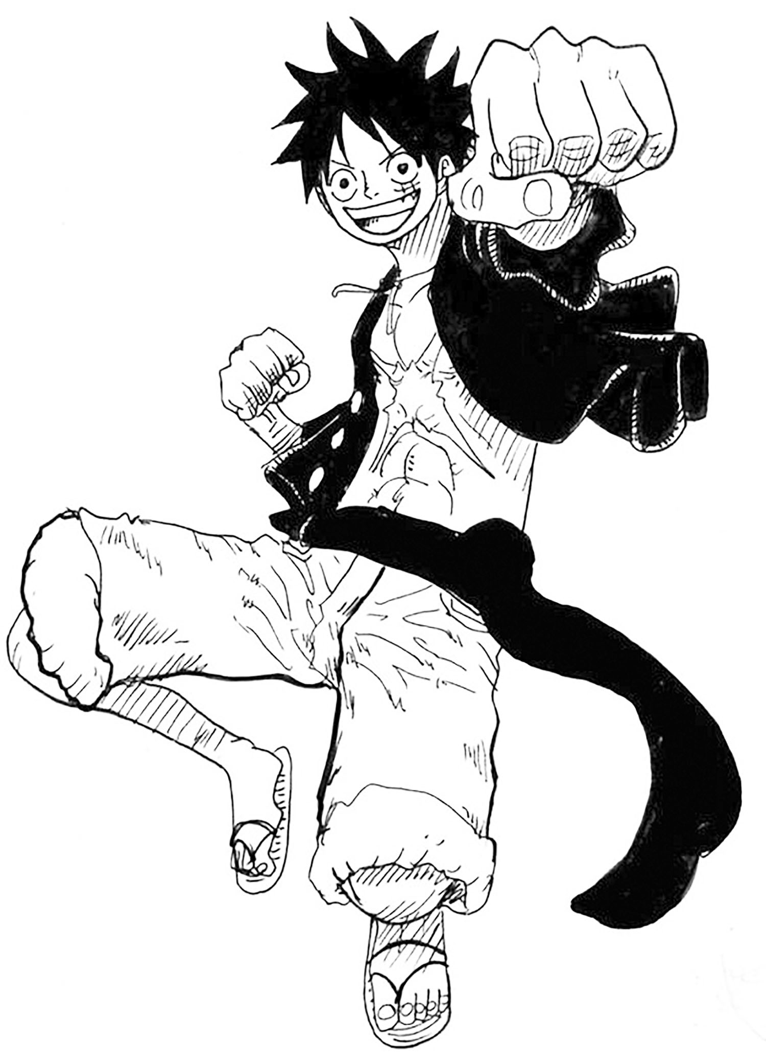 Simple coloriage de One piece pour enfants