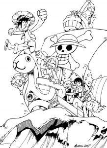 Coloriage enfant manga one piece 14
