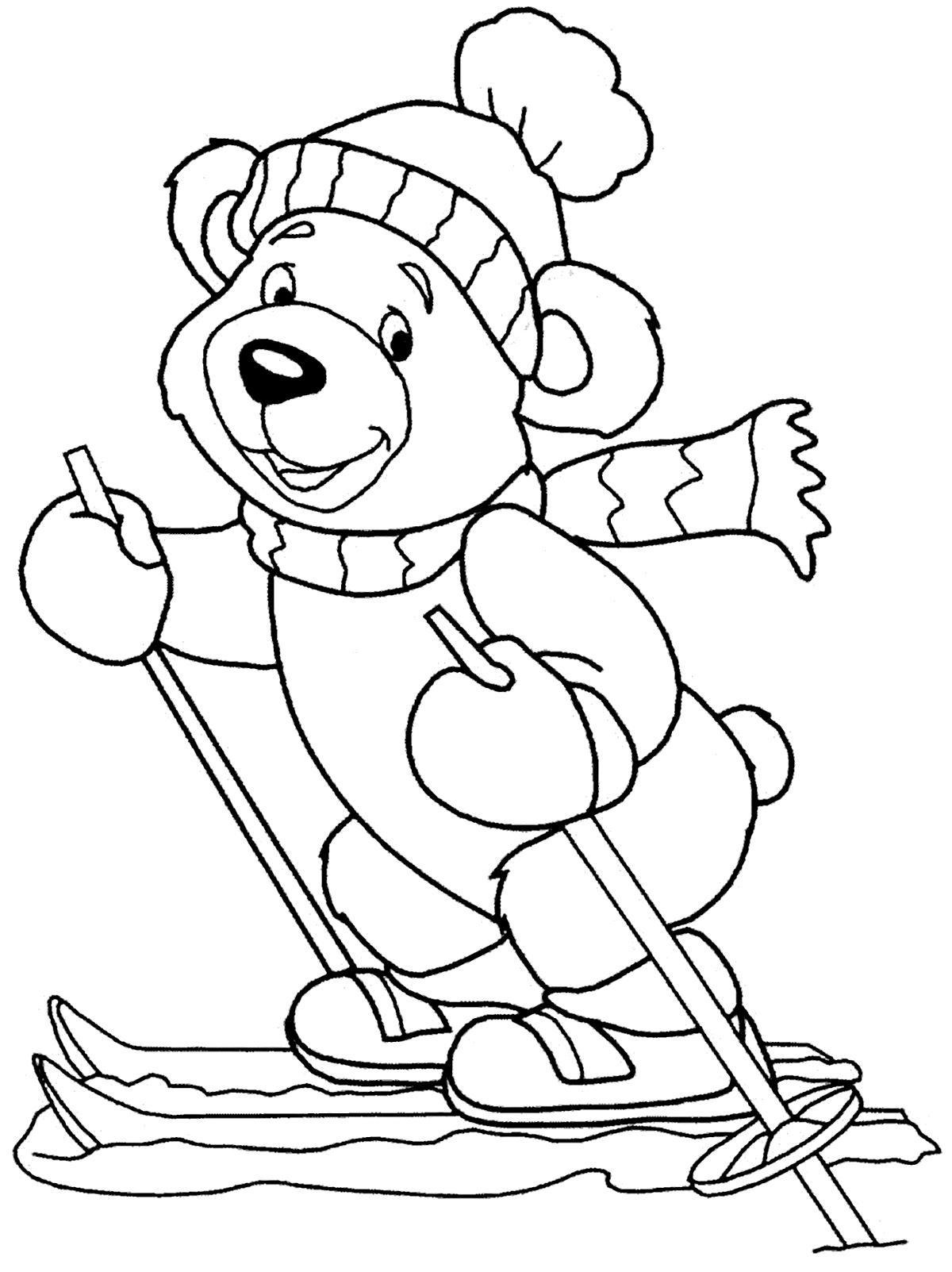 Ourson Skieur Coloriage D Oursons Coloriages Pour Enfants