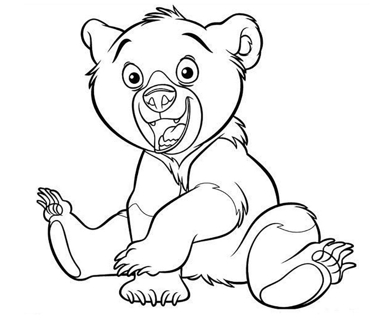 Ourson content - Coloriage d'Oursons - Coloriages pour enfants
