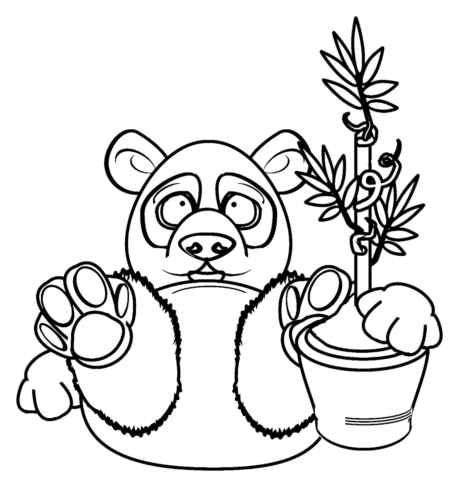 Simple coloriage de panda pour enfants