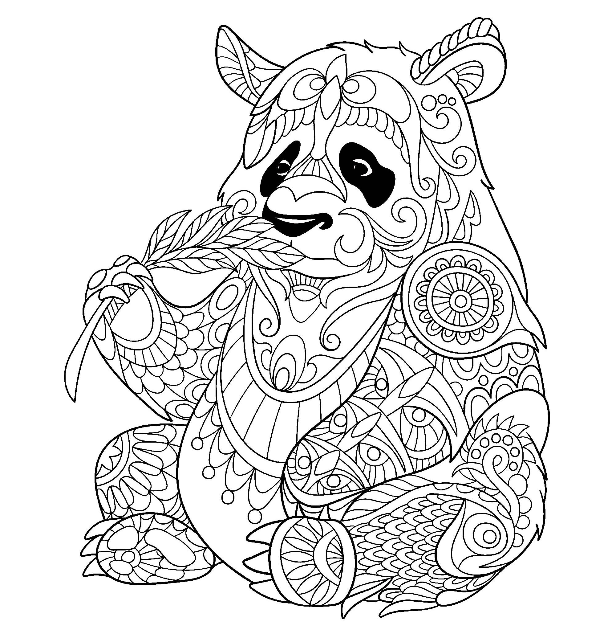 Panda bambou coloriage de pandas coloriages pour enfants - Coloriage a imprimer panda ...