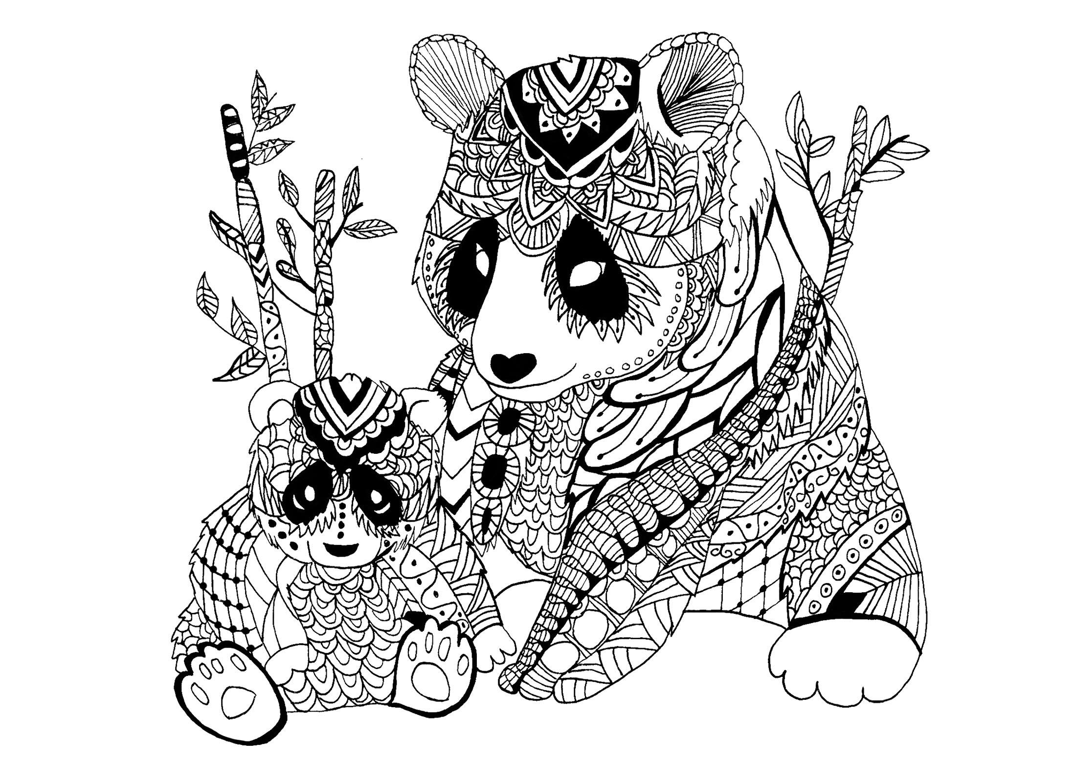 Coloriage de panda à imprimer pour enfants - Coloriage de ...