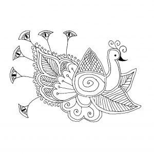 Dessin de paon gratuit à imprimer et colorier