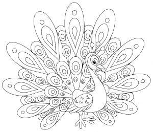 Coloriage de paon à colorier pour enfants