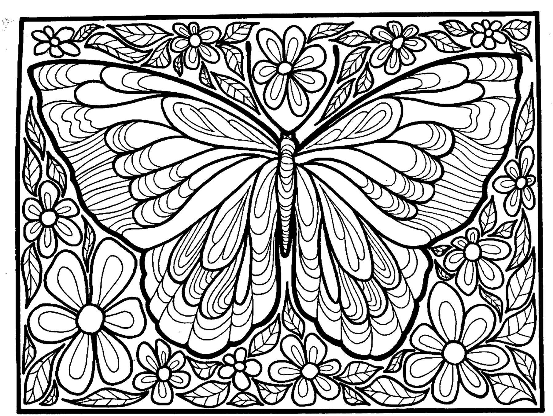 Simple coloriage de Papillons pour enfants