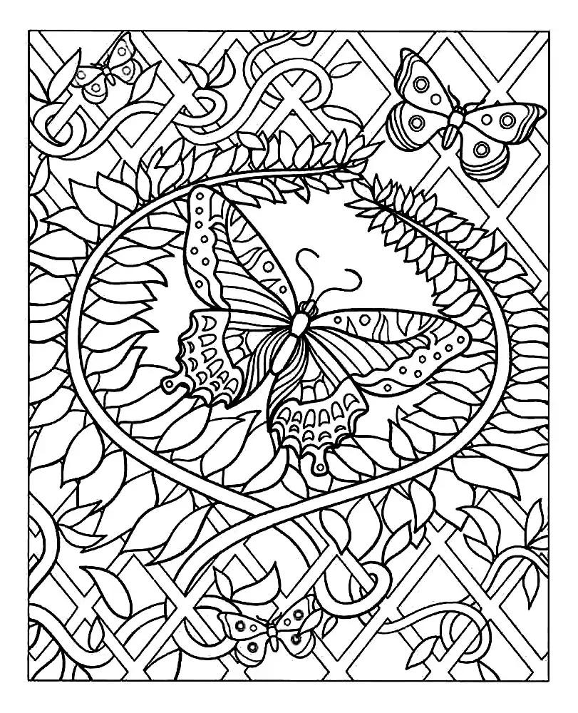Joli coloriage de Papillons simple pour enfants
