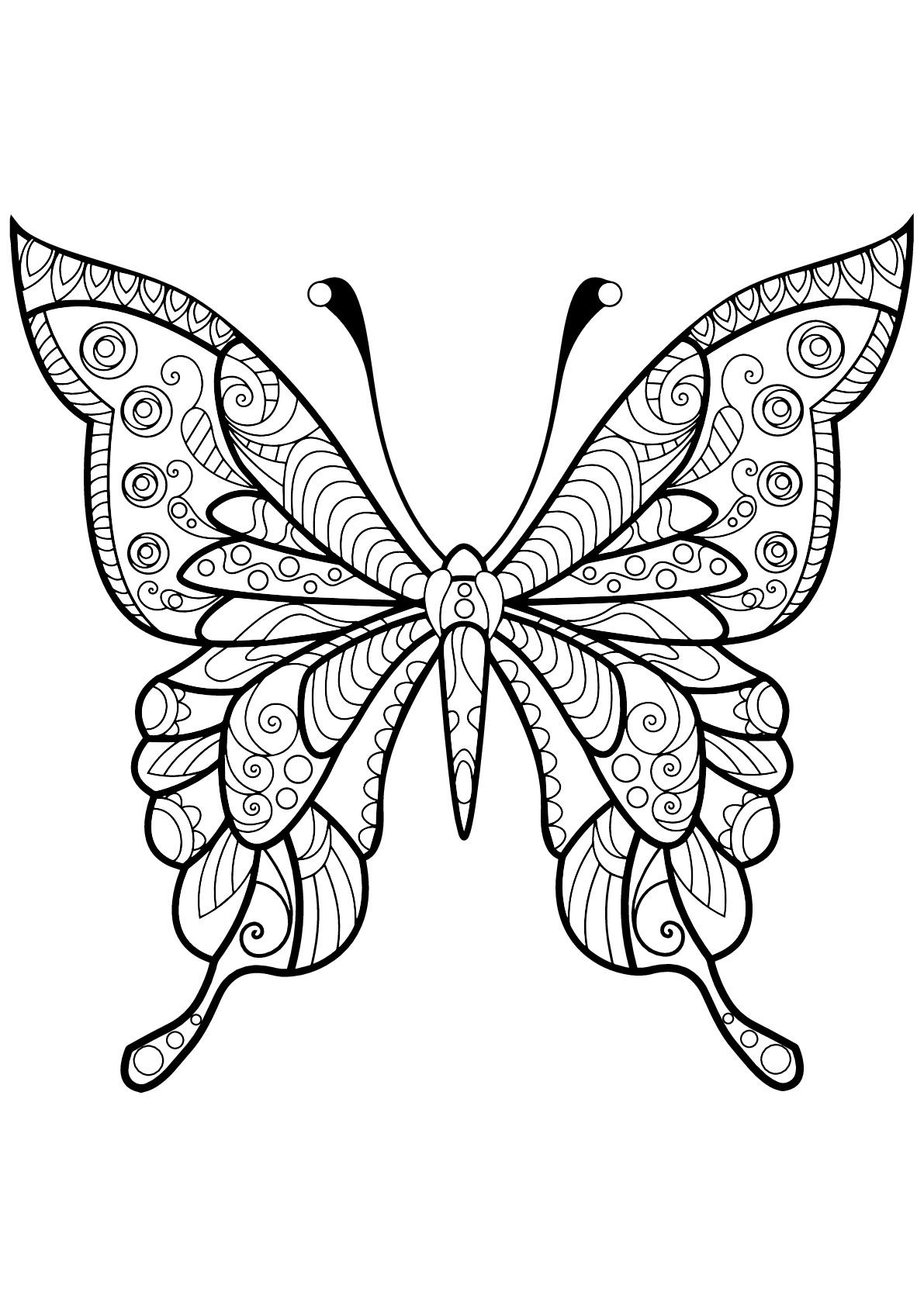 Papillon motifs 4 coloriage de papillons coloriages pour enfants - Coloriage de papillon ...