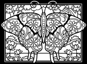 Coloriage difficile papillon fond noir