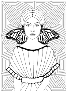 Coloriage la fille aux papillons