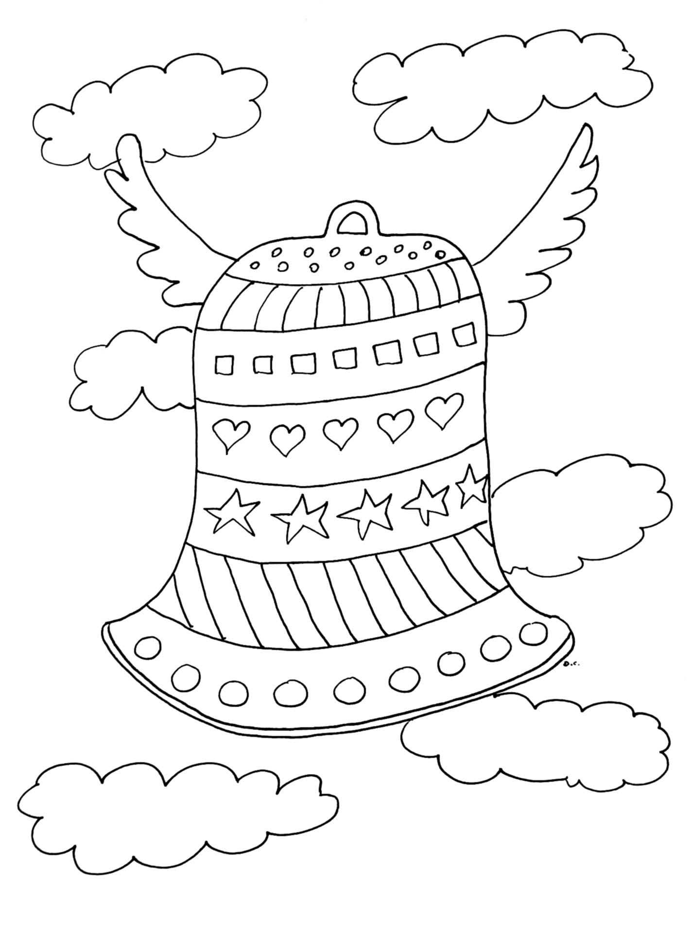Coloriage d'une cloche de Pâques avec motifs divers pour tout petits
