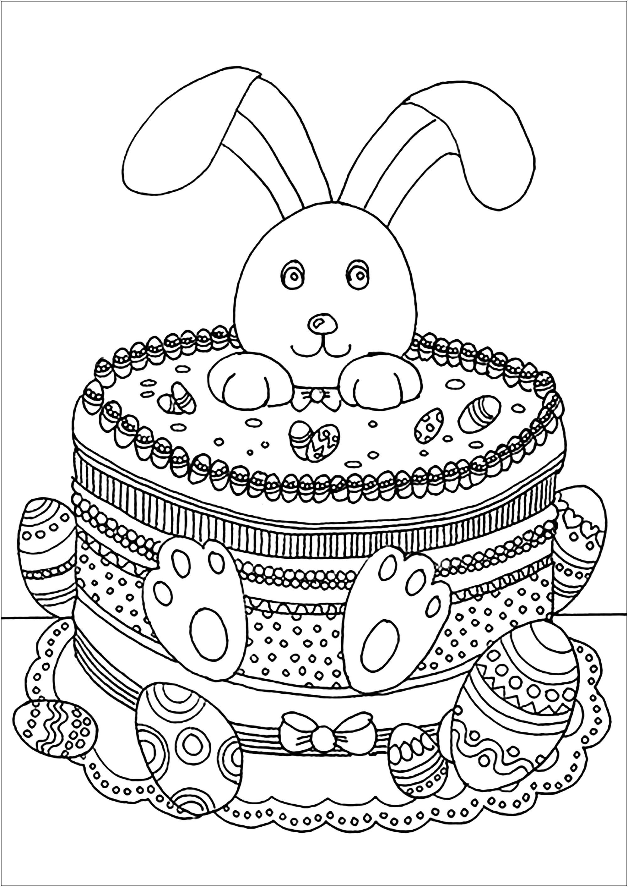 Coloriage sympa de Pâques à imprimer et colorier