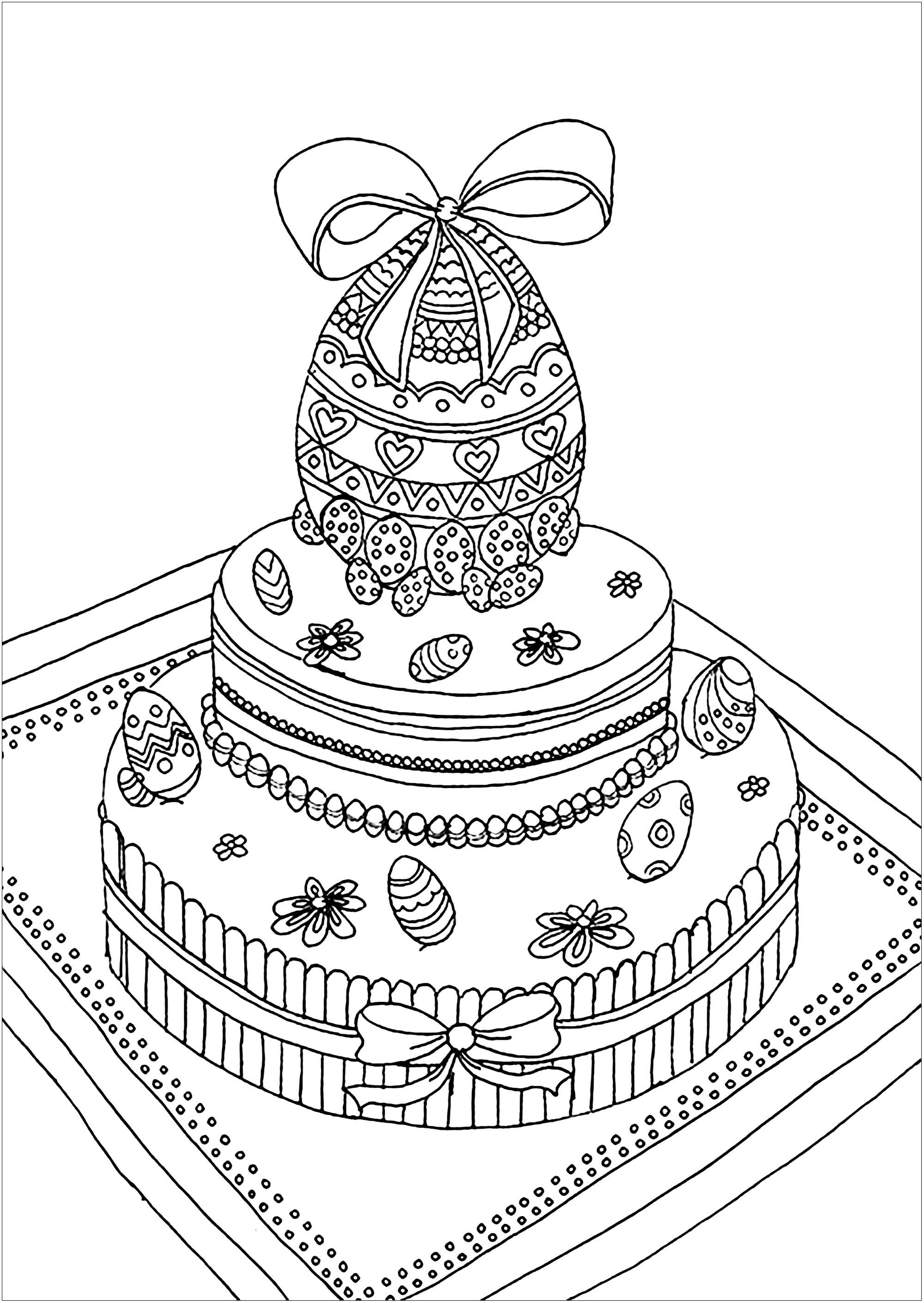 Simple coloriage de Pâques pour enfants