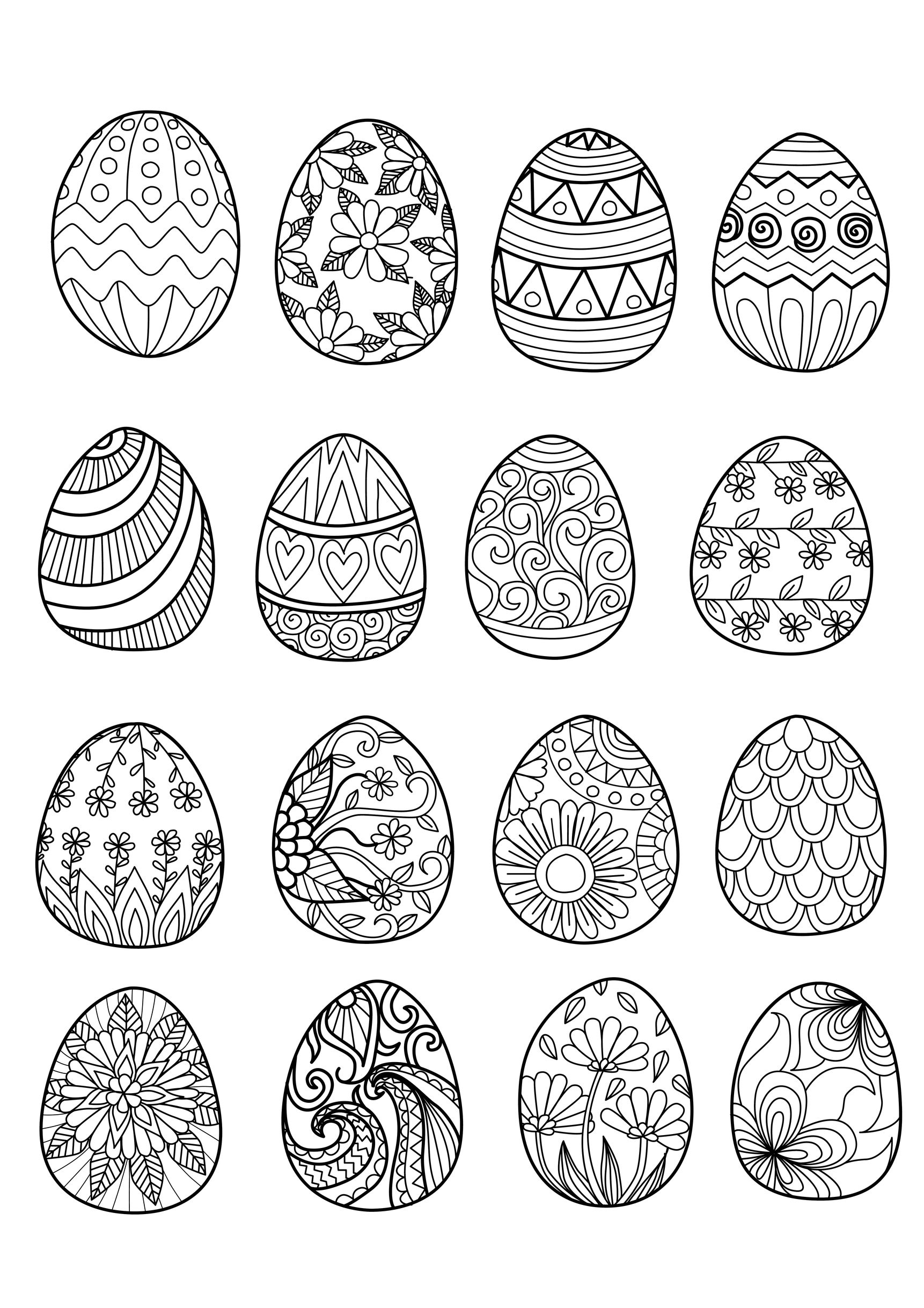 16 oeufs de Pâques - Coloriage de Pâques (Oeufs de Pâques, Lapins, Cloches...) - Coloriages pour ...