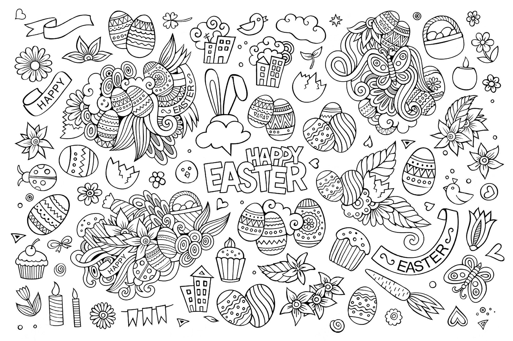 Coloriage amusant de Pâques à imprimer et colorier