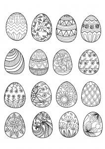 coloriage-paques-16-oeufs free to print