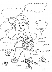coloriage-paques-chasse-oeufs-chocolat free to print