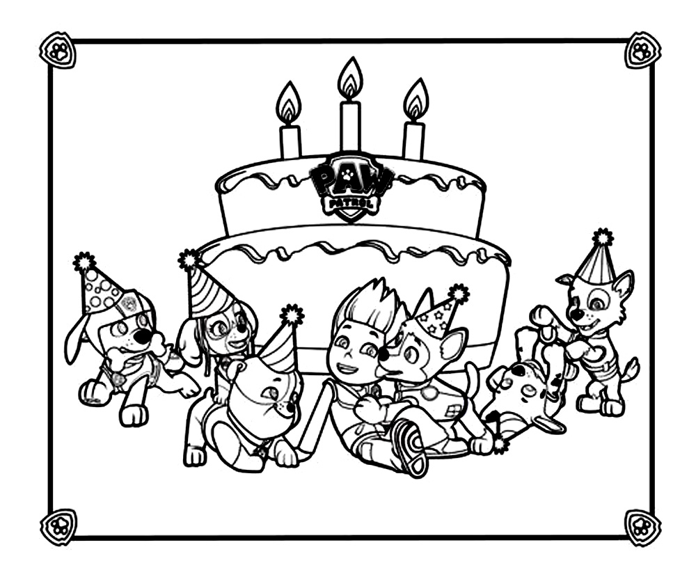 Coloriage d anniversaire avec la Pat Patrouille