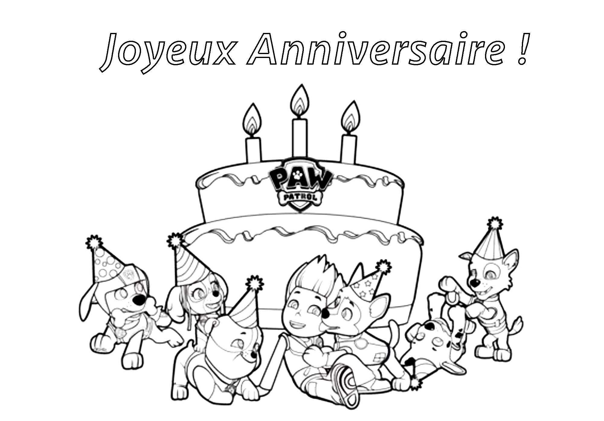 Pat patrouille joyeux anniversair coloriage pat - Dessin bon anniversaire ...
