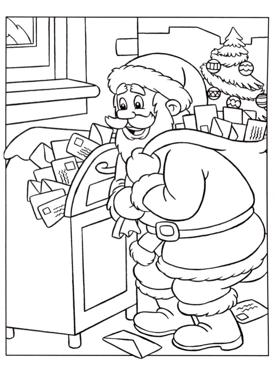 Image du Père Noël à imprimer & colorier