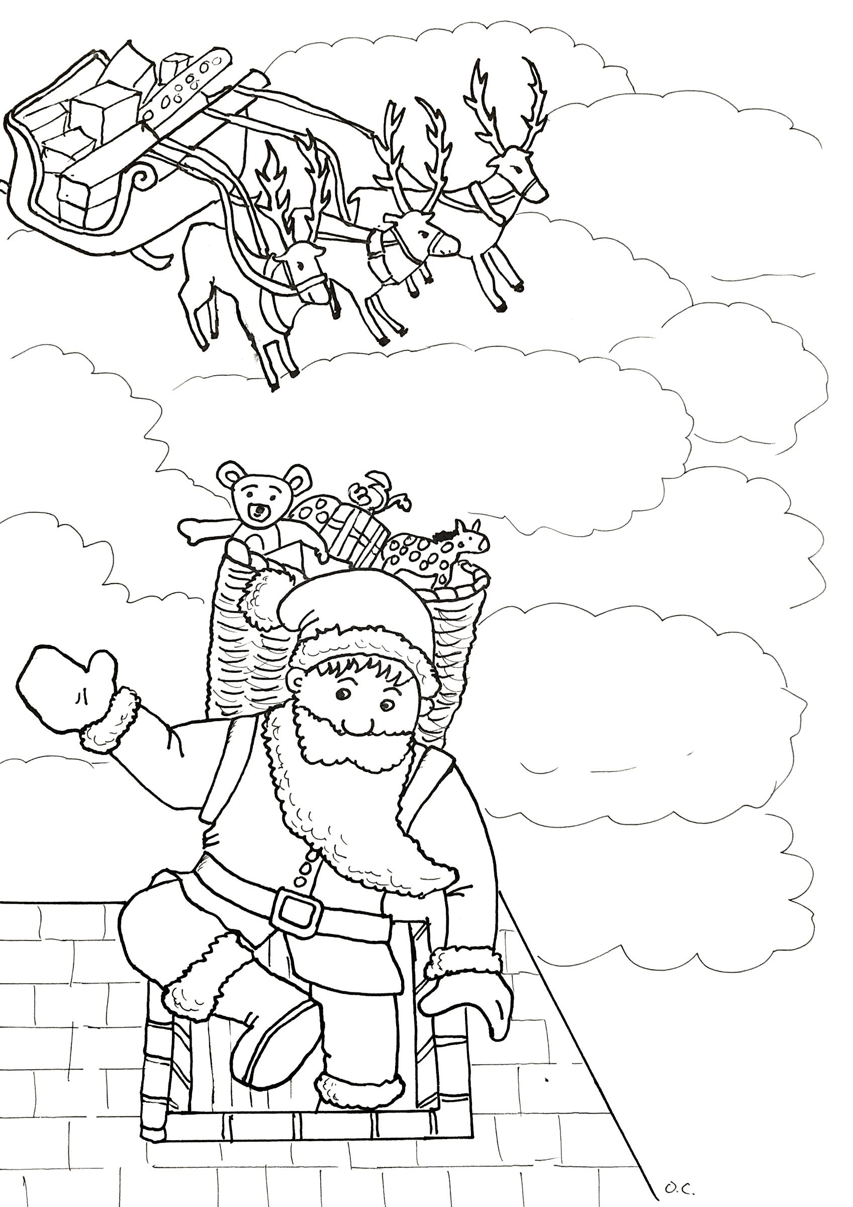 Le Père Noël entrant dans une cheminée, par Olivier