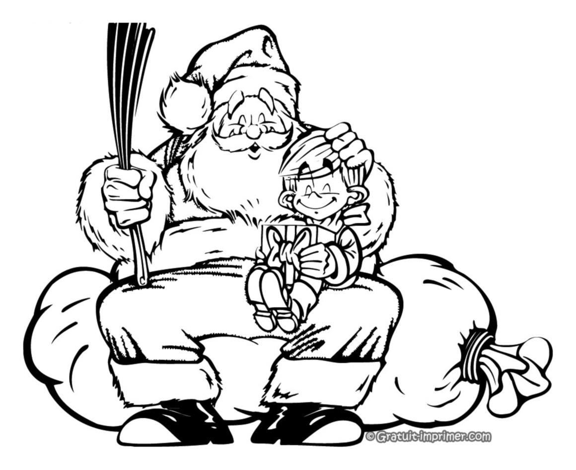 Coloriage d'un enfant avec le Père Noel