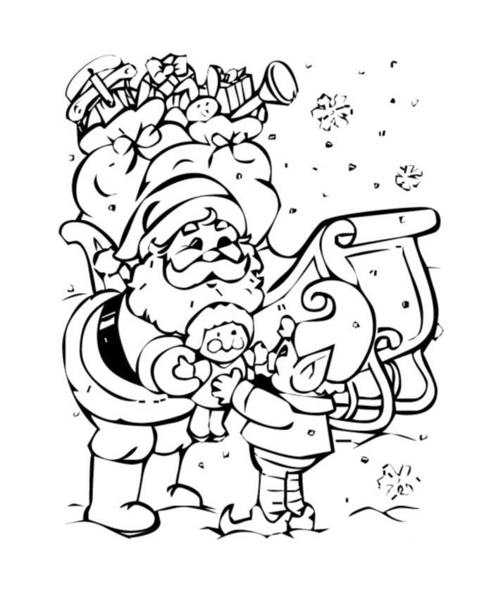 Pere Noel Lutin Noel Coloriage Père Noël Coloriages Pour Enfants