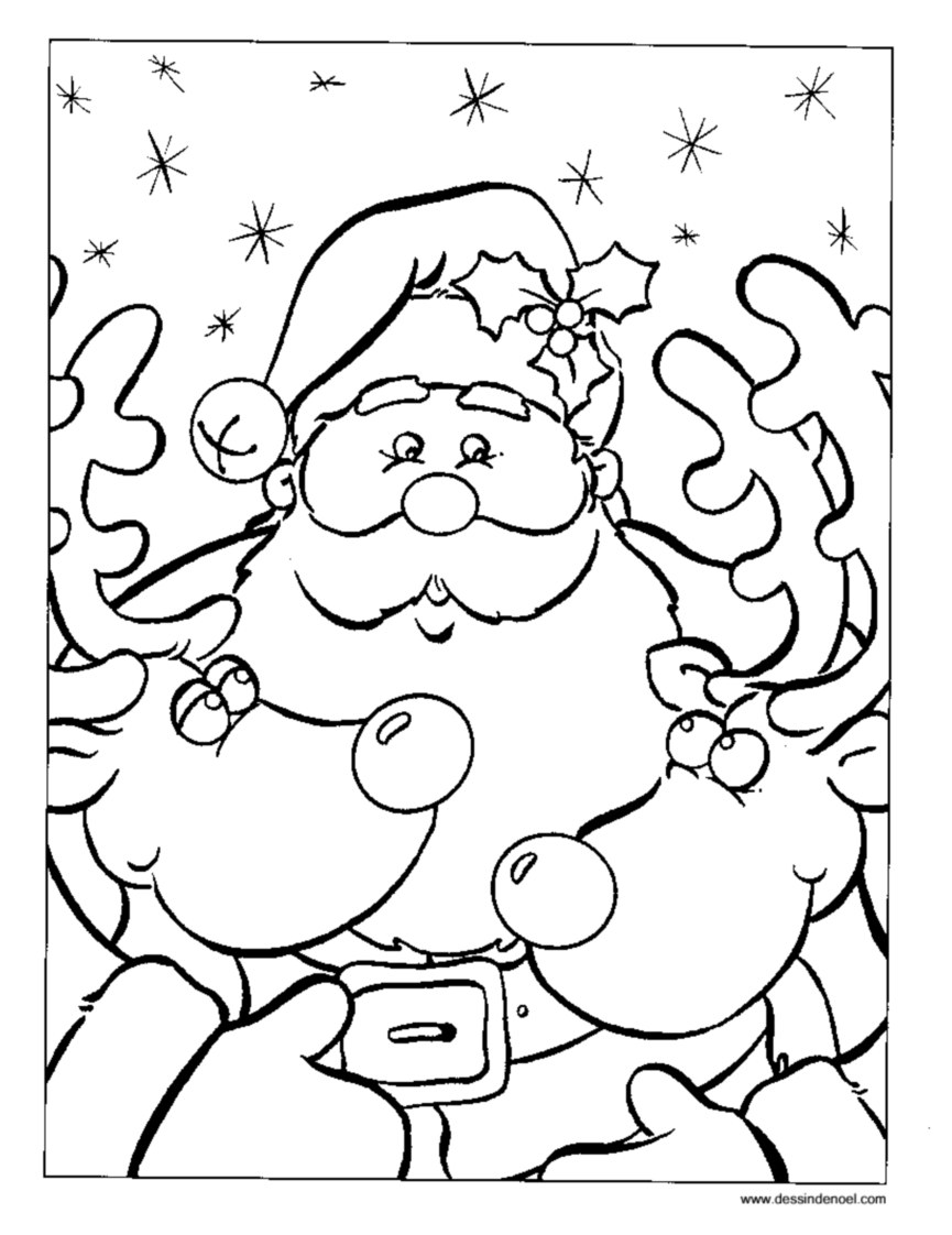 Pere noel rennes 2 coloriage p re no l coloriages pour enfants - Image pere noel a colorier ...