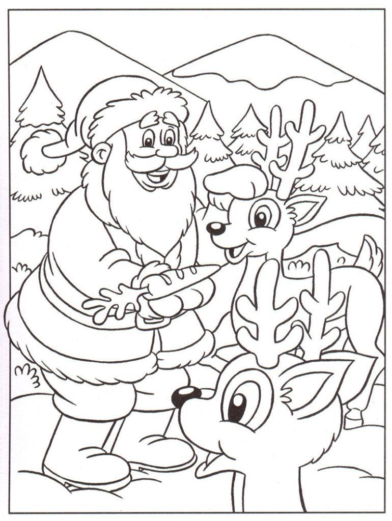 le pre noel et ses rennes - Coloriage Noel