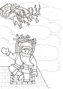 Père Noël arrivant dans la cheminée
