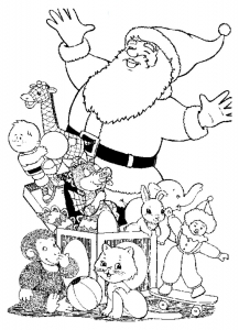 coloriage-pere-noel-cadeaux free to print