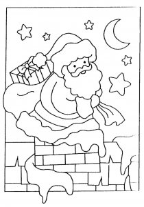 coloriage-pere-noel-cheminee free to print