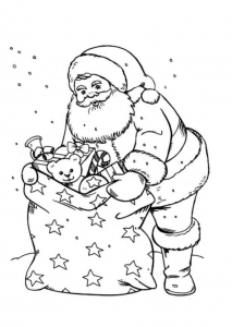 coloriage-pere-noel-hotte-cadeaux free to print