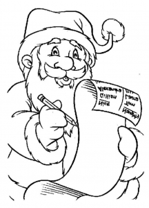 coloriage-pere-noel-lettre free to print