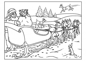 coloriage-pere-noel-traineau free to print