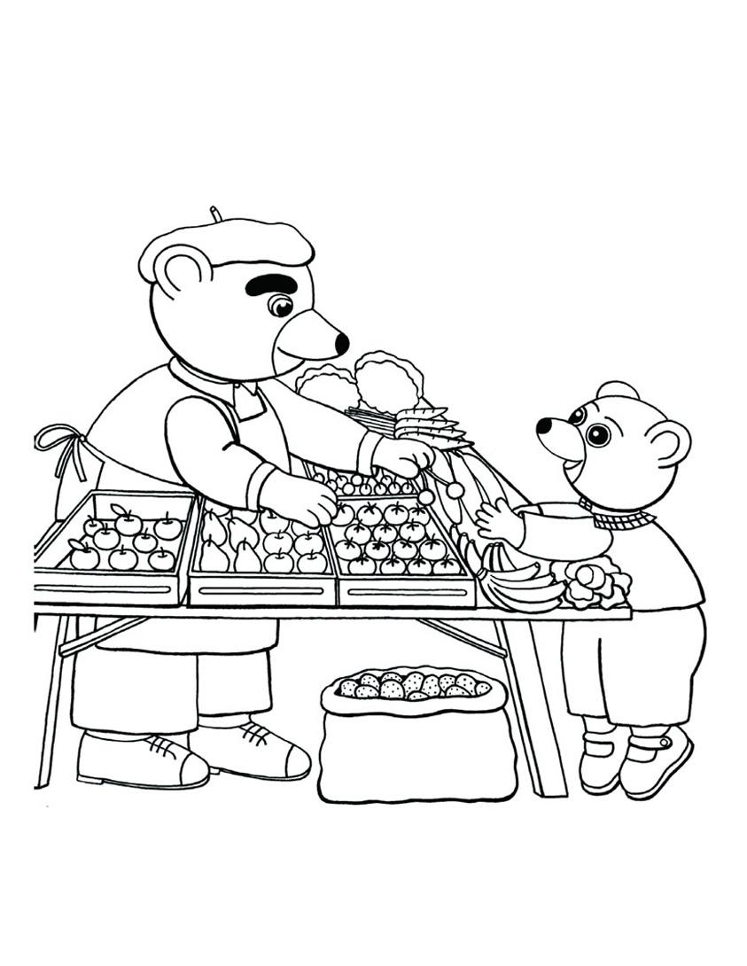 Sur le marché du village, Petit Ours brun aime acheter des fruits et légumes, il apprend à compter comme ça