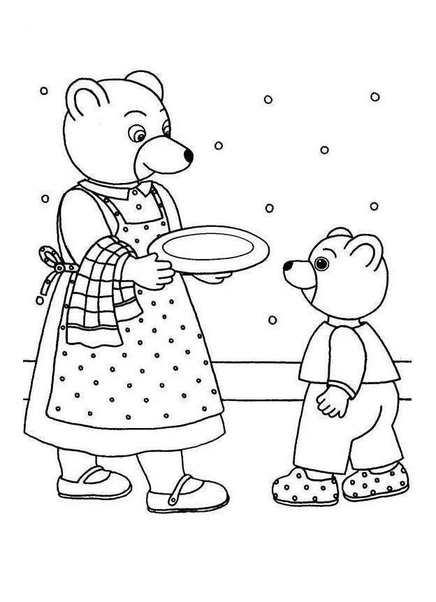 maman ours a prpar un bon gteau pour son petit ours ador - Coloriage Maman