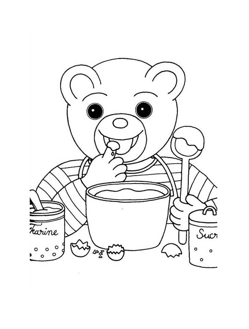 Coloriage de Petit Ours Brun qui est en train de préparer (et goûter) un bon gateau