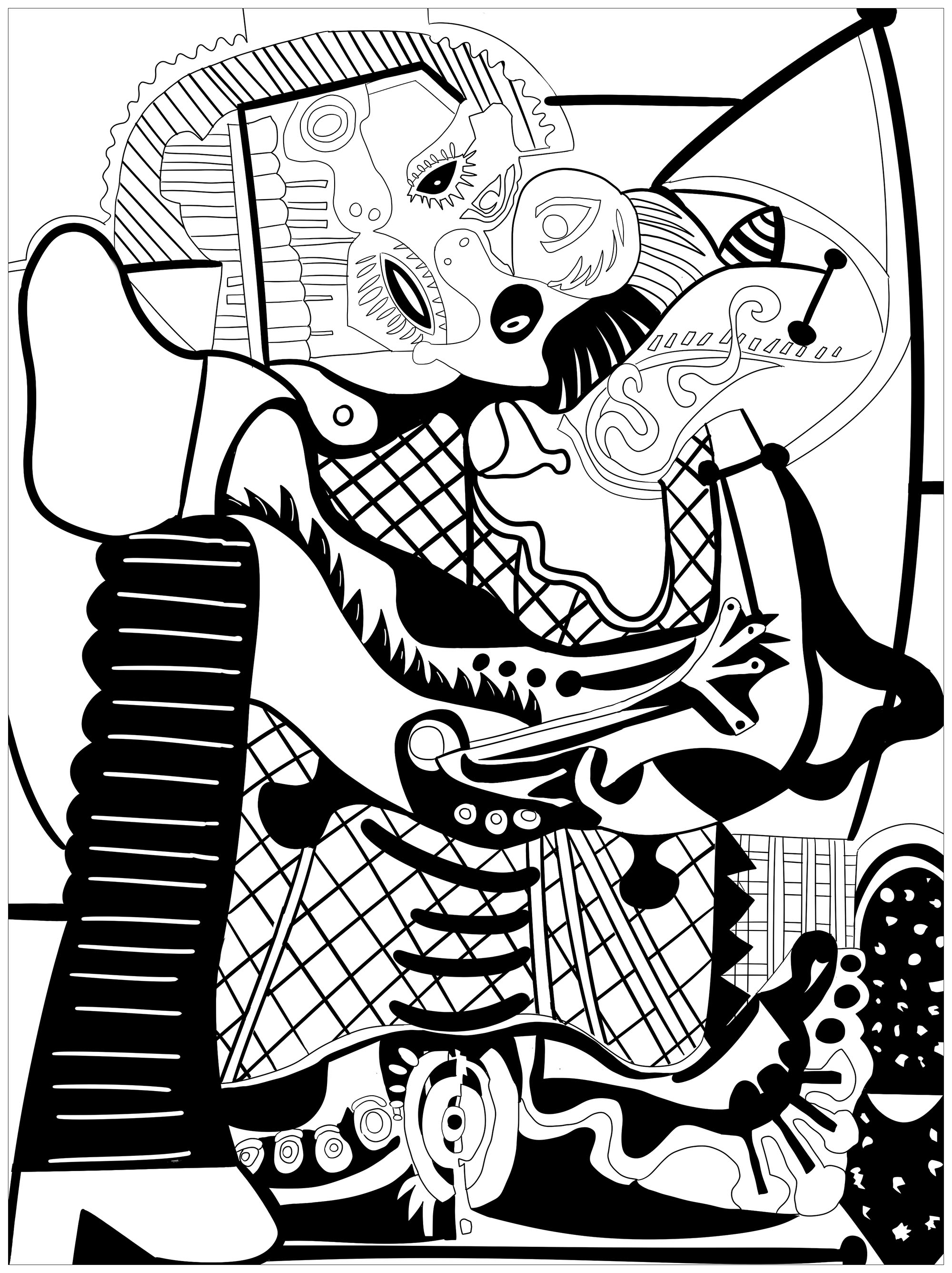Coloriage De Picasso A Colorier Pour Enfants Coloriage Picasso Coloriages Pour Enfants