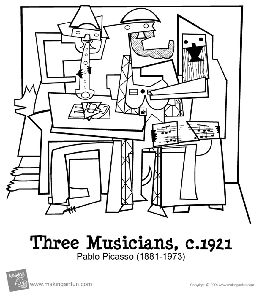Three Musicians Page Coloriage Picasso Coloriages Pour