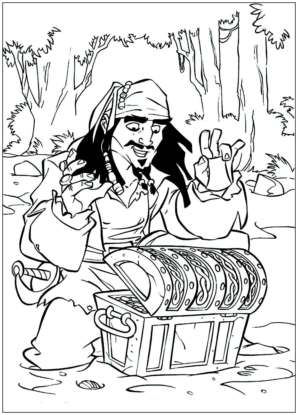 Coloriez ce dessin à temps pour récupérer le trésor avant Jack Sparrow !