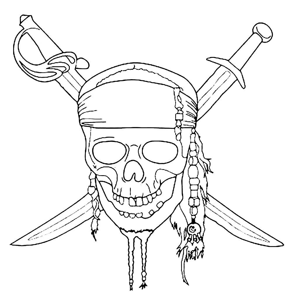 Tête de mort de Pirates des Caraïbes   Coloriage Pirates des ...