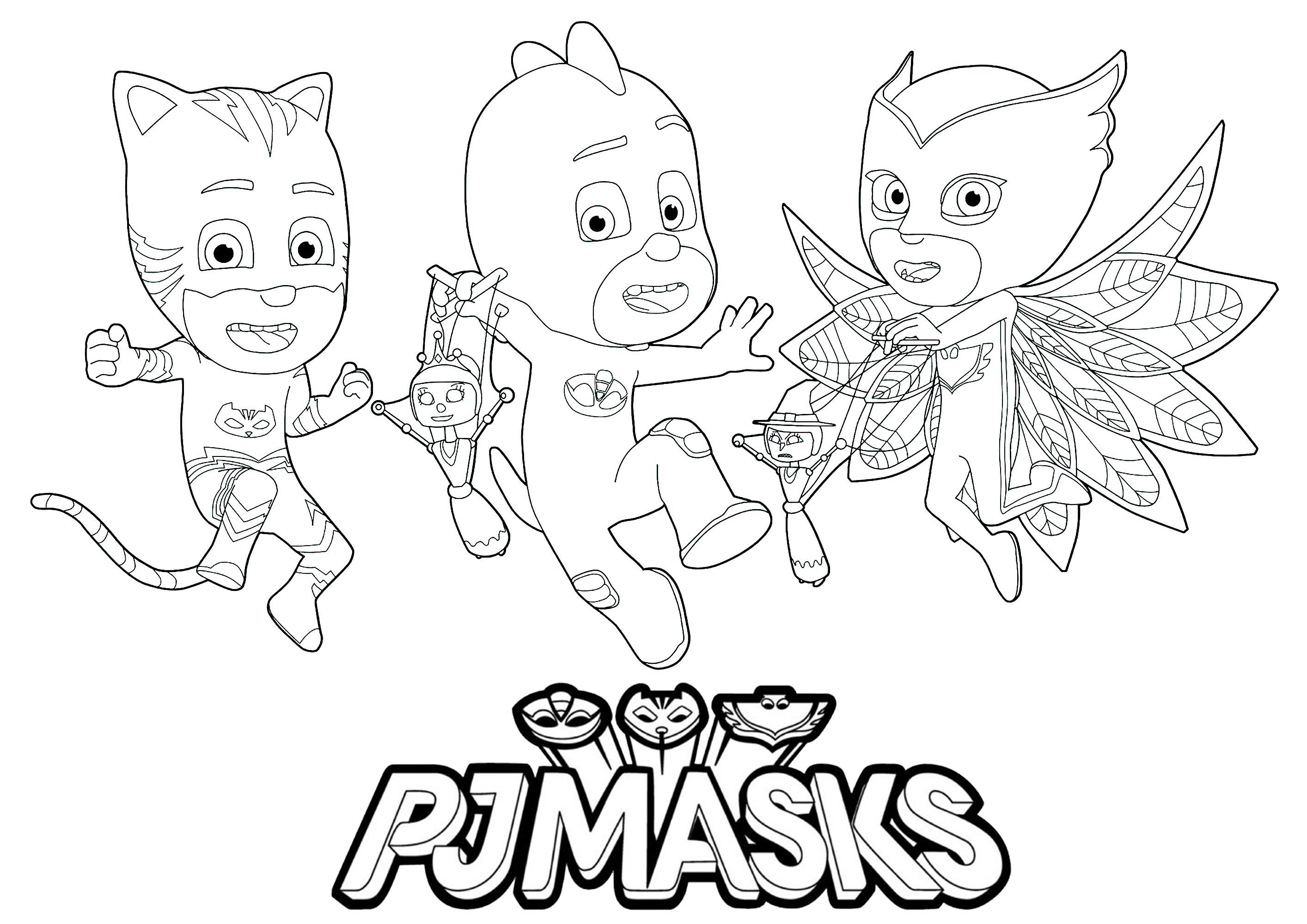 Pj masks logo et 3 personnages coloriage pj masks - Disney junior coloriage ...