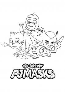 PJ Masks : coloriage facile avec logo
